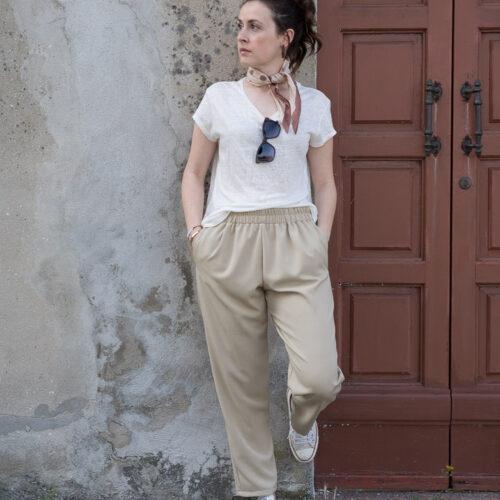 pantaloni donna beige